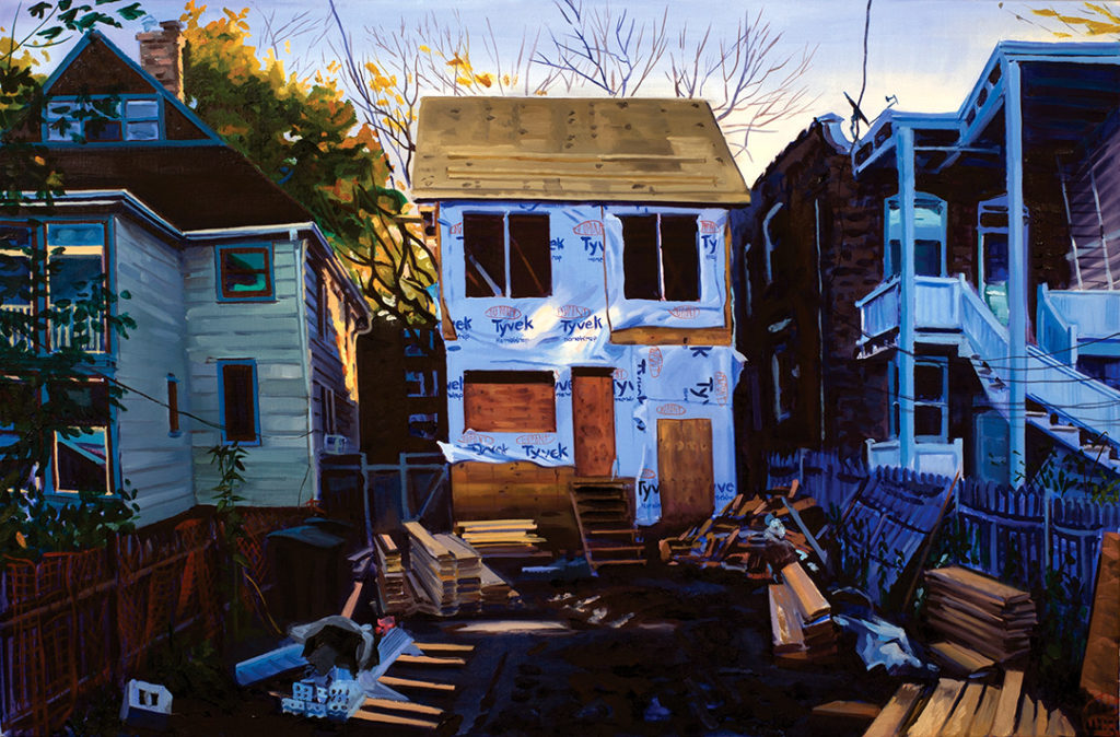painting by Emily Rapport, a house under construction