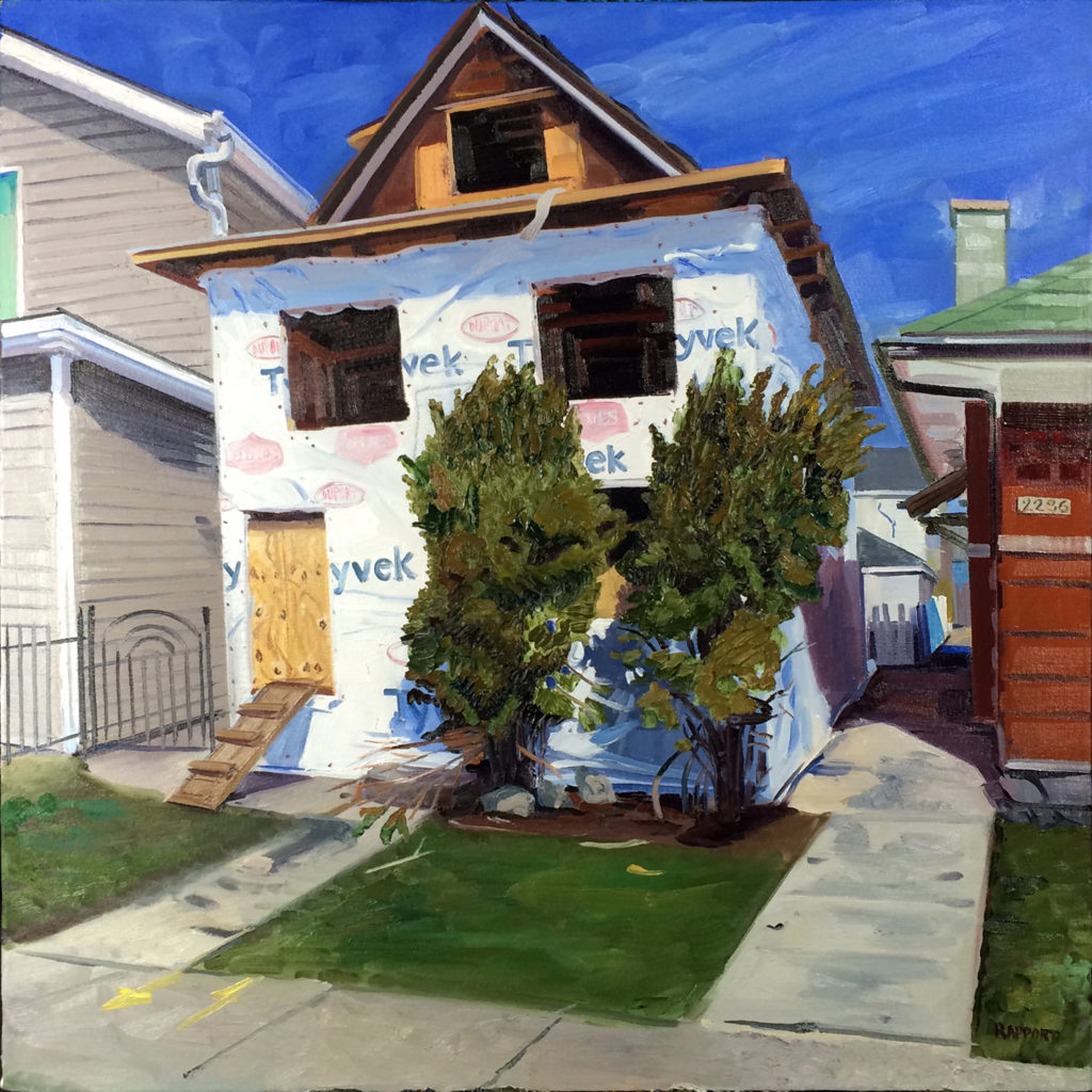 Wrapped House, oil painting by Emily Rapport shows an empty house wrapped in Tyvek