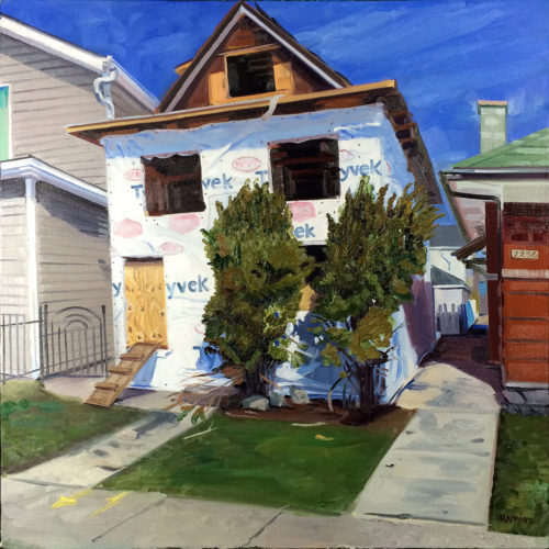 Wrapped House, oil painting by Emily Rapport shows a n empty house wrapped in Tyvek