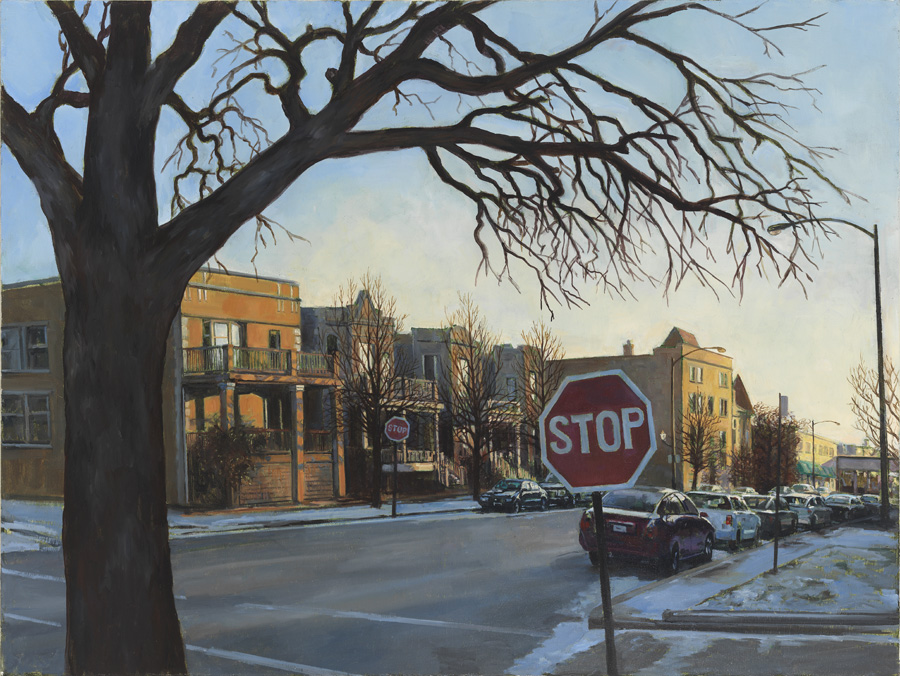painting by Marion Kryczka, a snowy street scene