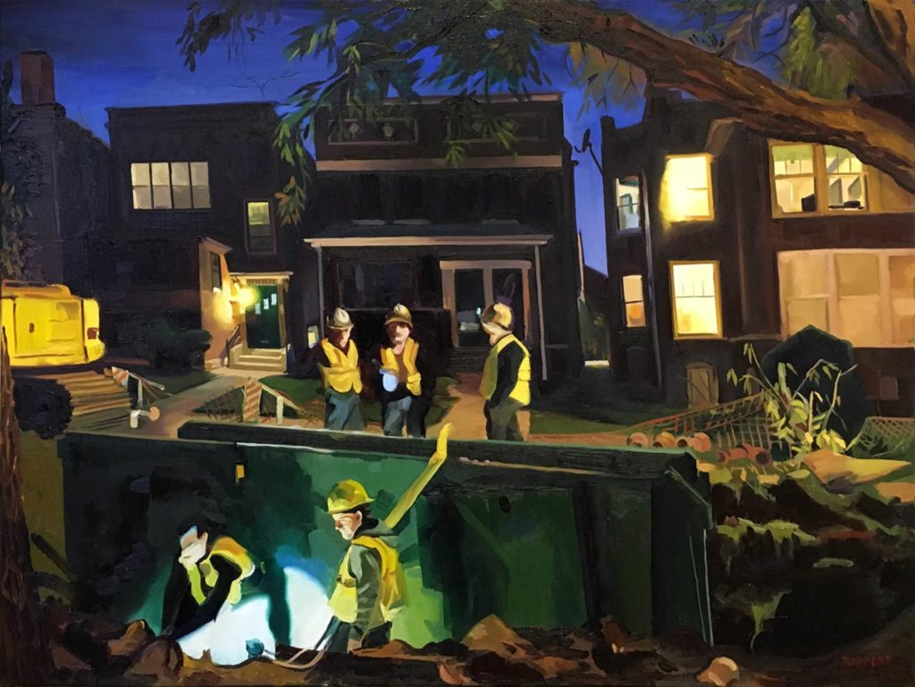 Painting of City of Chicago water department working at night.