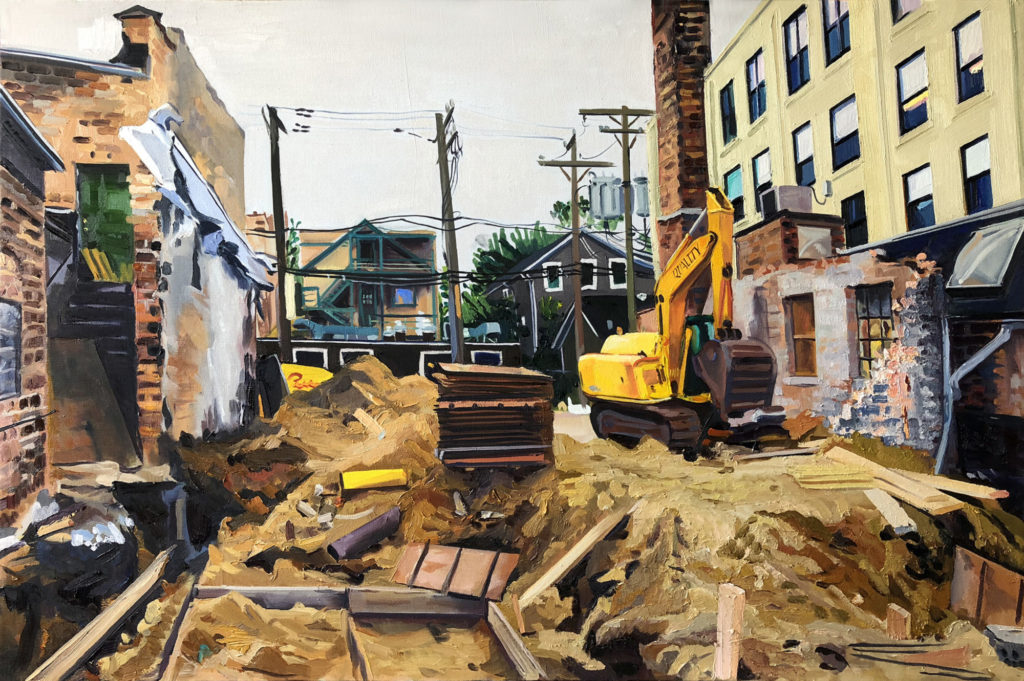 oli painting of construction site