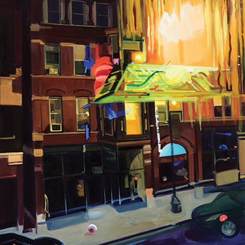 Painting of Delilah's, a reflection in the window shows a double exposure in the glass