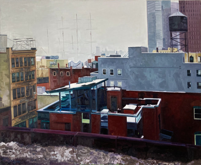 View from the Brooklyn Bridge, oil on canvas