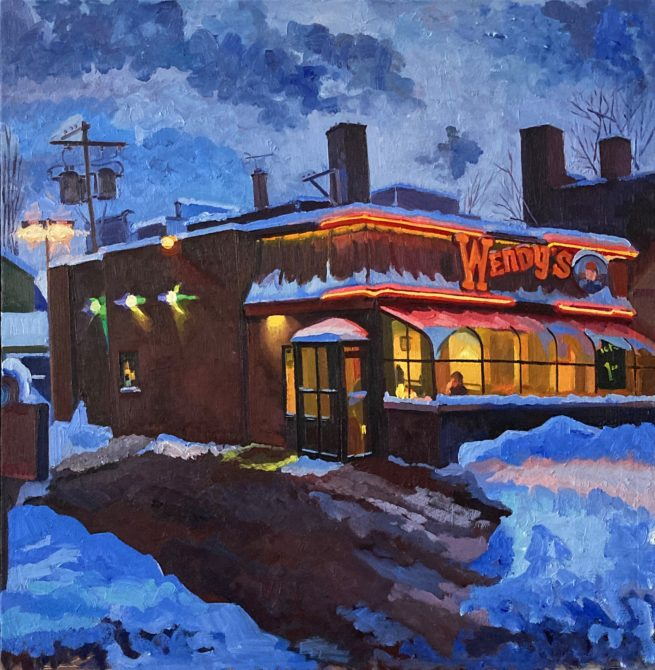 Wendy's Drive-thru, oil painting