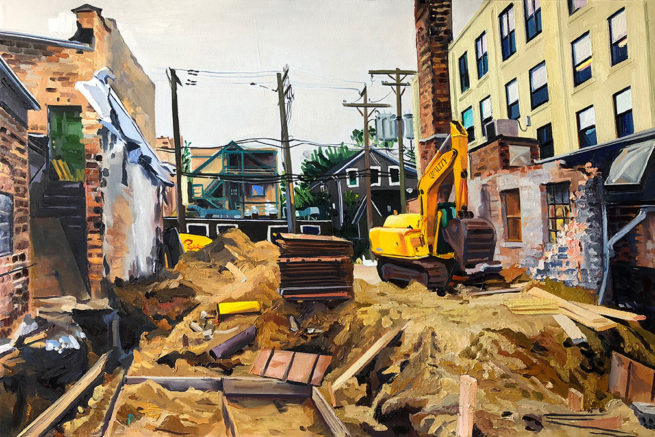 Oil painting of Ravenswood building site.