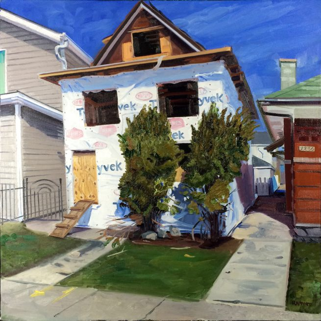 House wrapped in tyvek home wrap