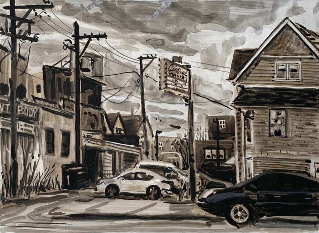ink painting of Cardinal Liquors, Chicago